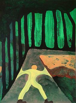 Im Weg, 80 x 60 cm, acrylic on canvas, 2020