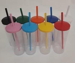 copo acrilico 310mL com canudo e tampas
