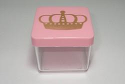 caixa 5x5 gravura dourada coroa princesa ou principe