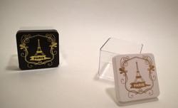 caixa acrilica 6x6cm paris dourado preto