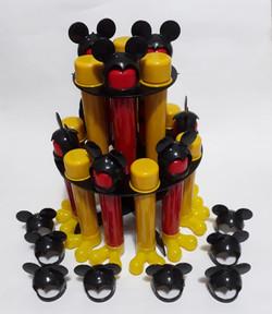 kit suporte com tubetes mickey 13cm lemb