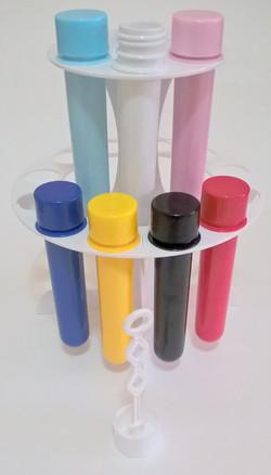 suporte +18 tubetes 13cm leitosos bolhas de sabao