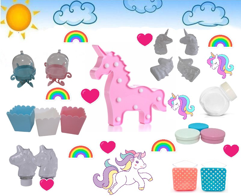Kit Unicornio Candy Color Lembrancinhas