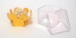 caixinha 4x4cm tampa presente transparente forminha doces minnie