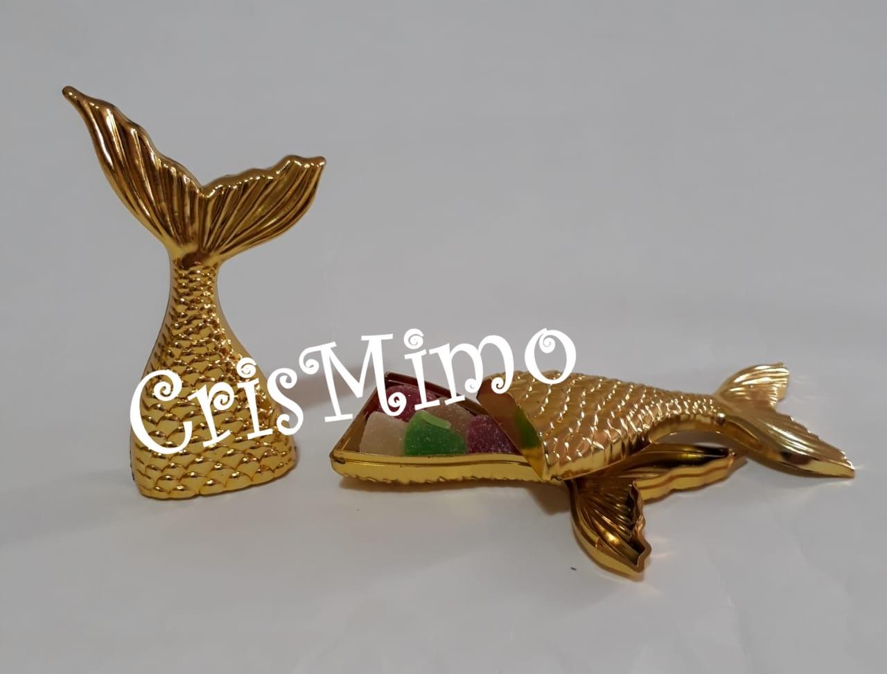 Baleiro Cauda de Sereia Dourada Lembrancinhas