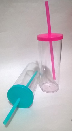 copo acrilico long drink 310mL com canud