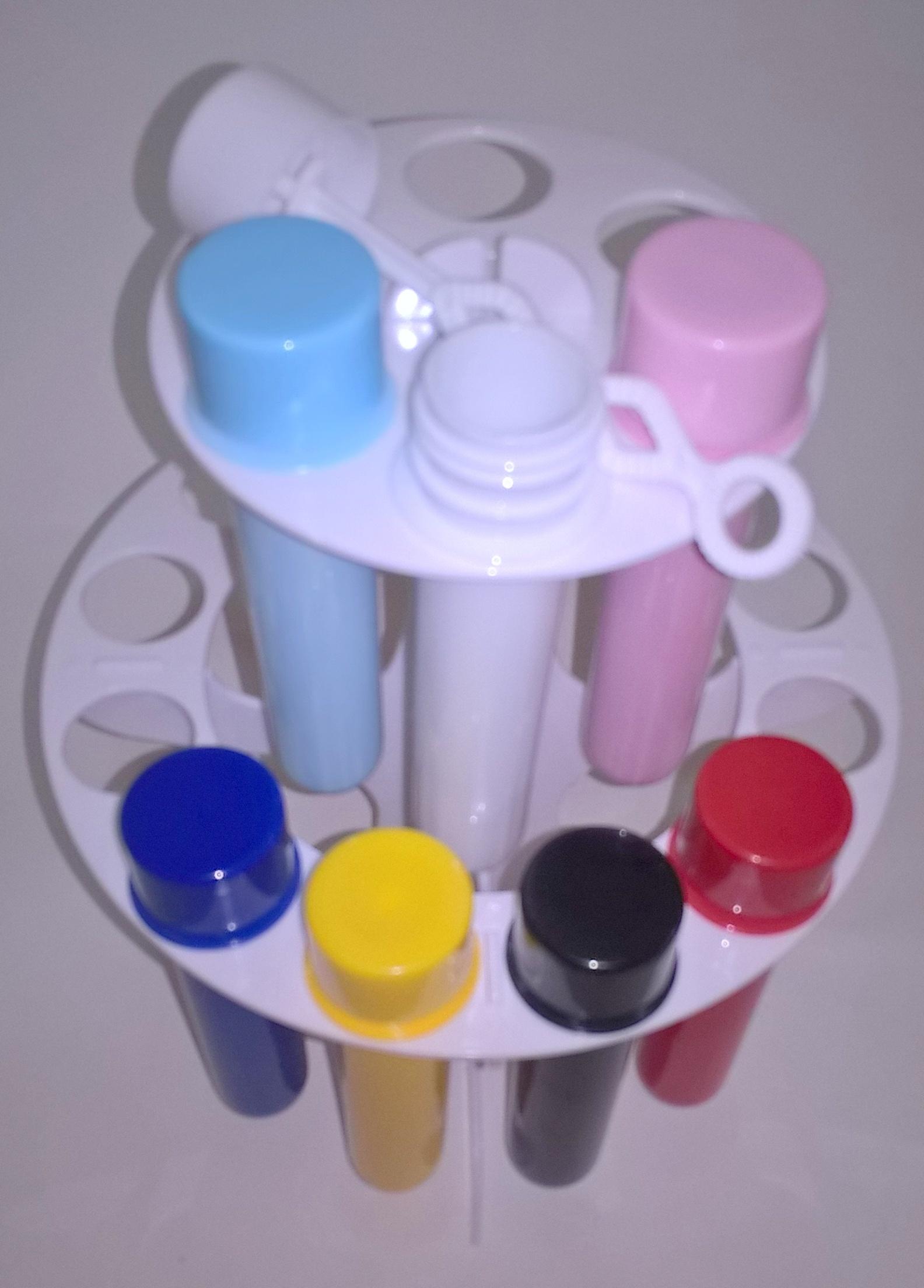 kit suporte +18 tubetes leitosos bolha de sabao
