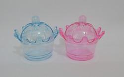 caixa coroa cristal azul e rosa