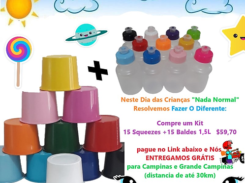 Kit 15 Squeezes +15 Baldes de 1,5L Promoção Entrega Grátis*