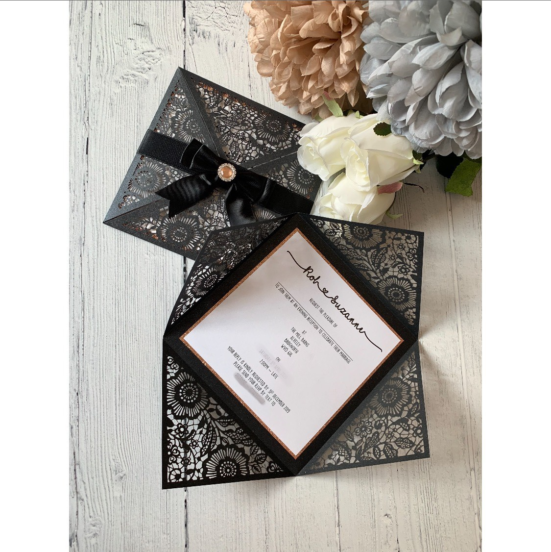 Black Four-Fold Lasercut Invite