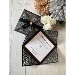 Black Four-Fold Lasercut Invite