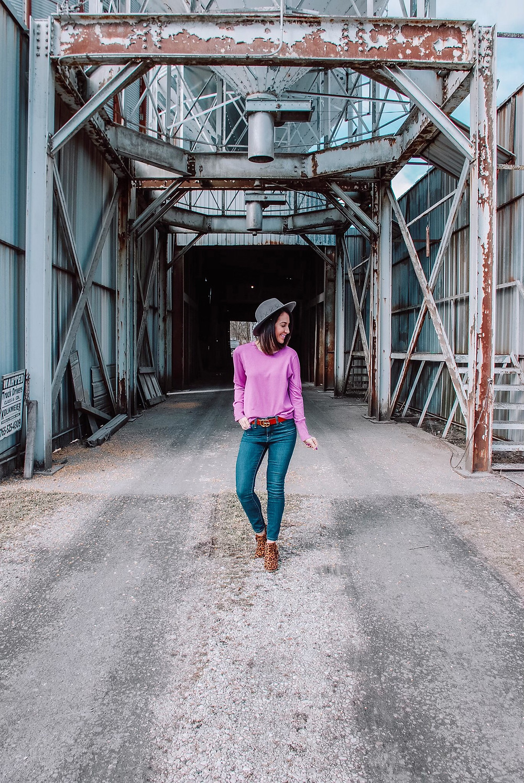 leopard print booties, lightweight purple sweater sweater, high waisted jeans