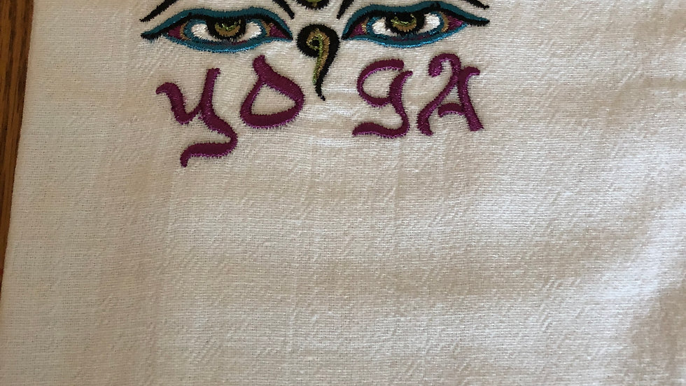 Flour sak dish towels with yogic mantras
