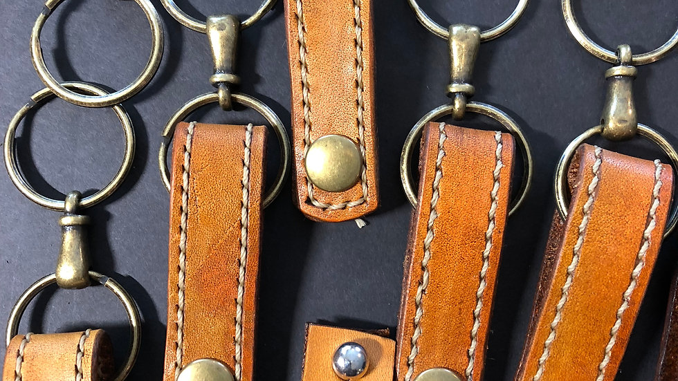 Hand Stitched leather keychains
