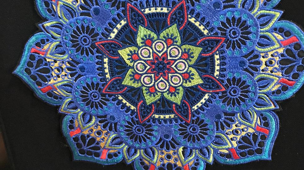 Framed Machine Stitched Mandala