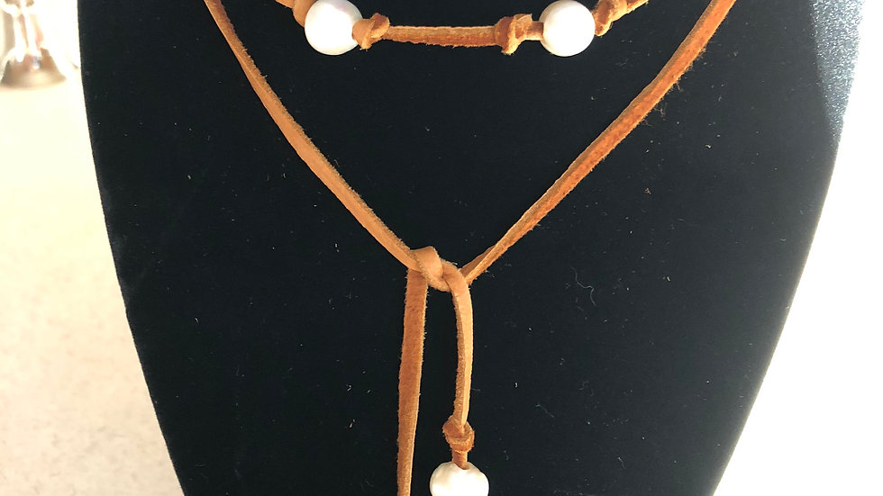 Deerskin leather and pearl drape necklace