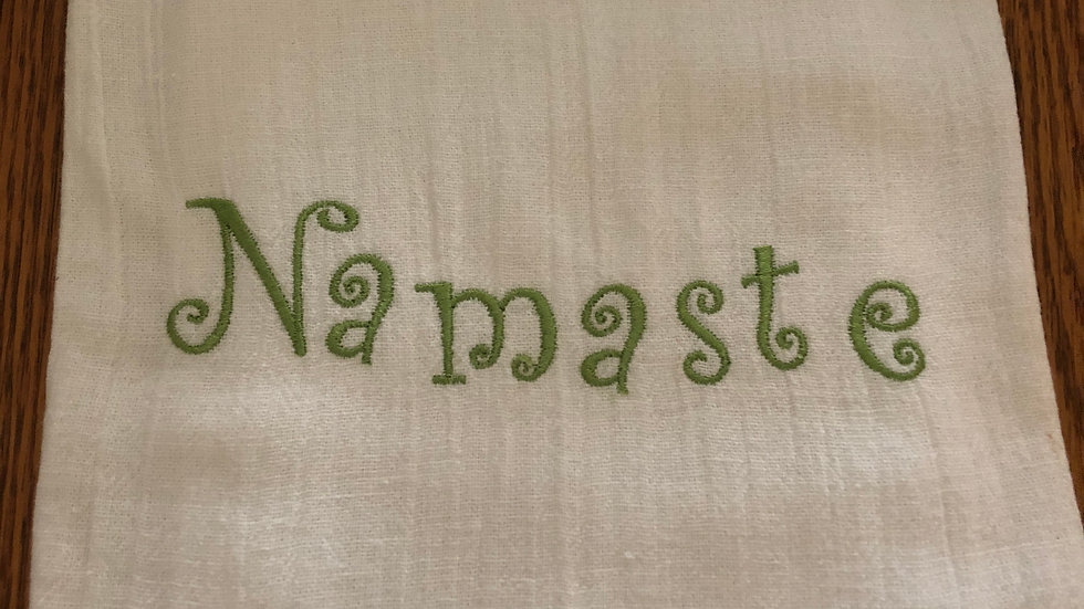 Embroidered flour sack dish towel