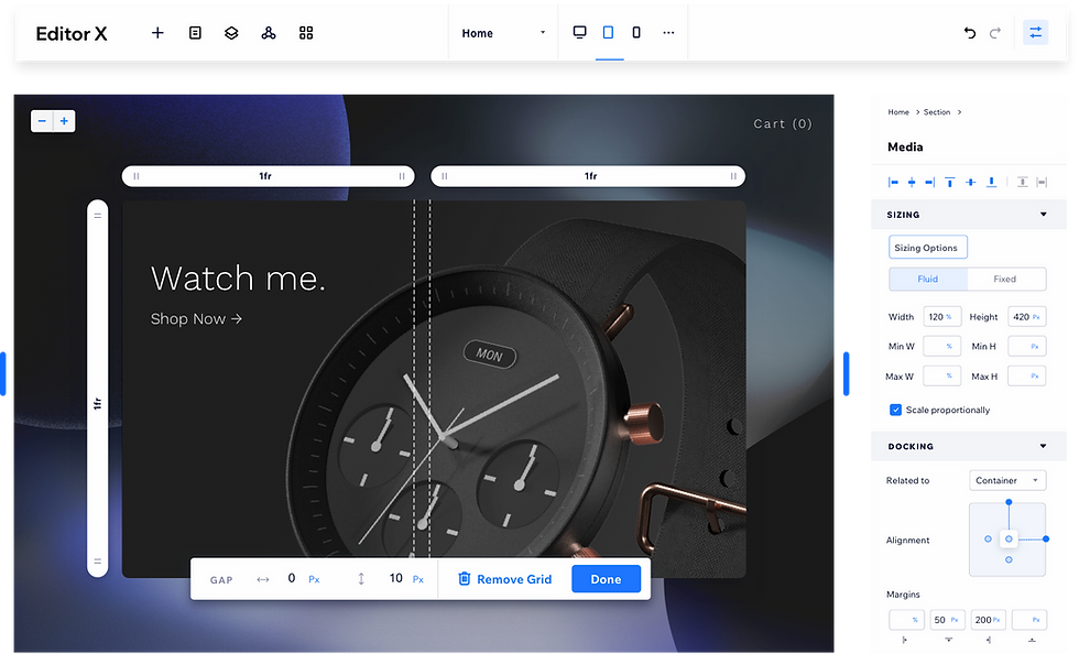 Watch website built with Editor X.