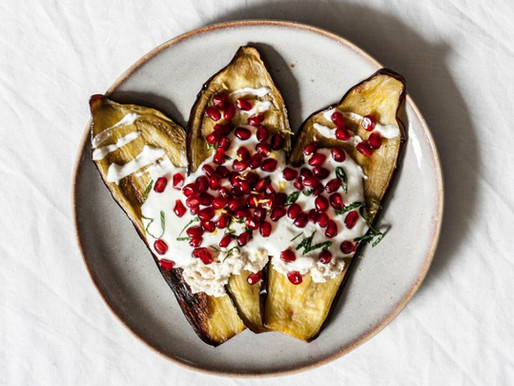 Eggplant Boats with Tofu Cream & Pomegranate
