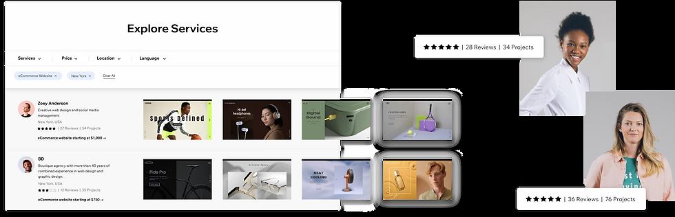 Wix Partner portfolios in the Wix Marketplace.