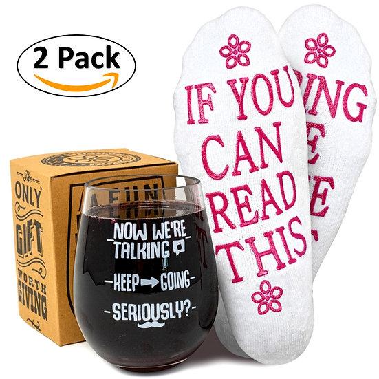 Funny Wine Socks and Funny Wine Glass