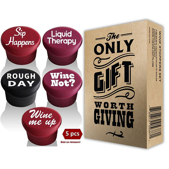 5 Wine Stoppers + Gift Box - Perfect Wine Gift Accessory Set