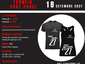 TORNEO FAST PADEL - 18 de Septiembre de 2021 - Padel Can Teixidó