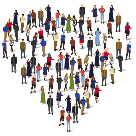 A diverse group of people standing together to make a shape of heart