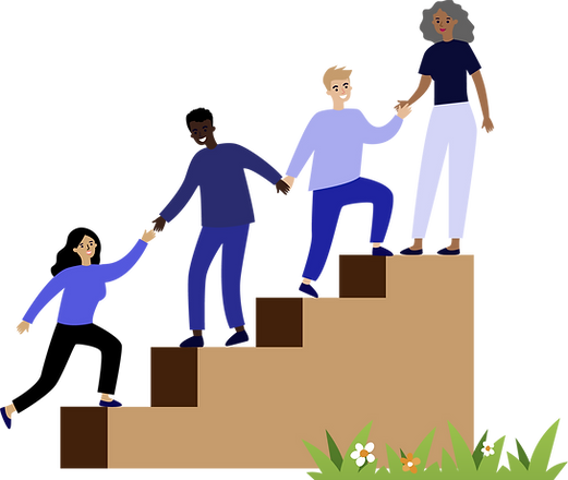 Four people helping each other climibing a stair