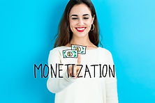 Monetization text with young woman on a