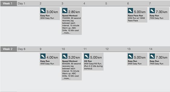 10K Sample Running Plan