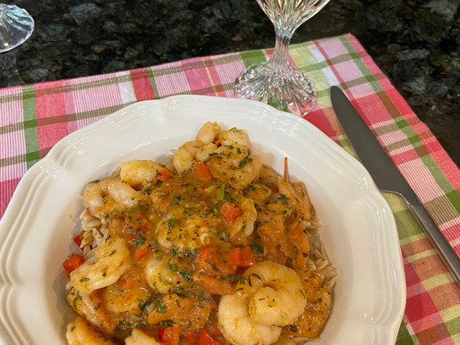 Shrimp with Ouzo, Orange and Oregano