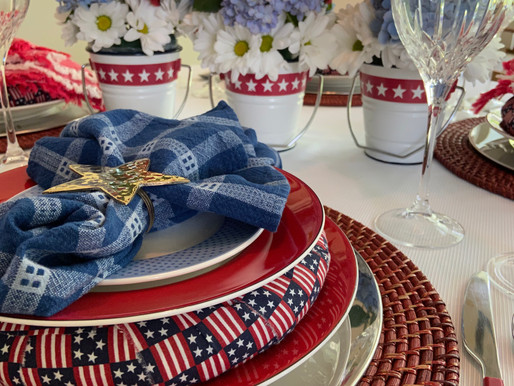 Red, White and Blue Table Setting....All Thrifted