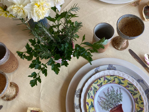 Herbs, Birds, and Daffodils Table Setting