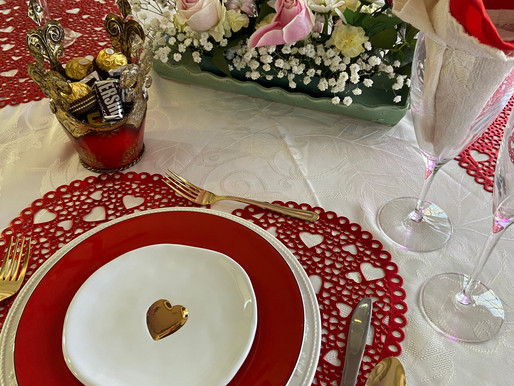Valentine's Day Table Setting (Mostly Thrifted)