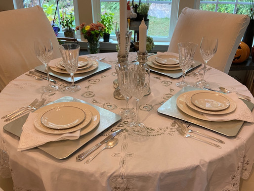 White and Silver Table Setting