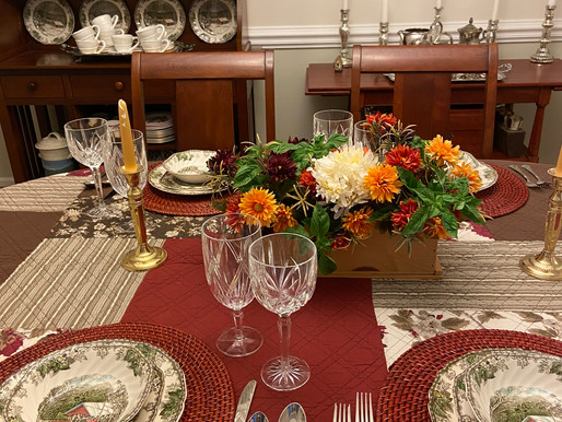 Fall Friendly Village Table Setting and Hutch