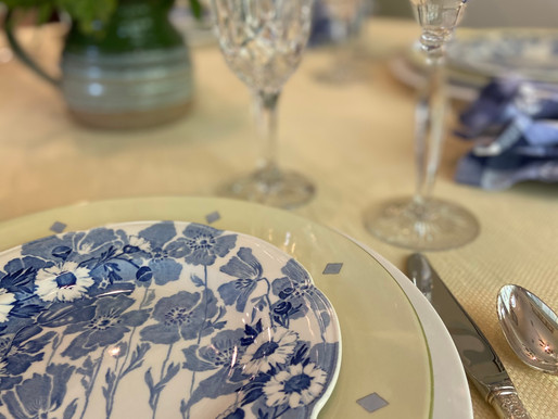 Yellow and Blue Table Setting