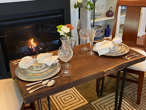 Dinner for Two by the Fireplace
