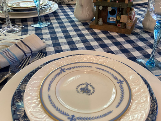 Blue and White Labor Day Table Setting