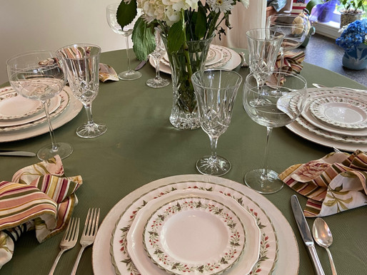 Beginning of Summer Thrifted Table Setting