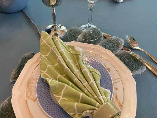 Leaf Themed Thrifted Table Setting