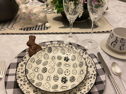 Elegant Easter Bunny Table Setting