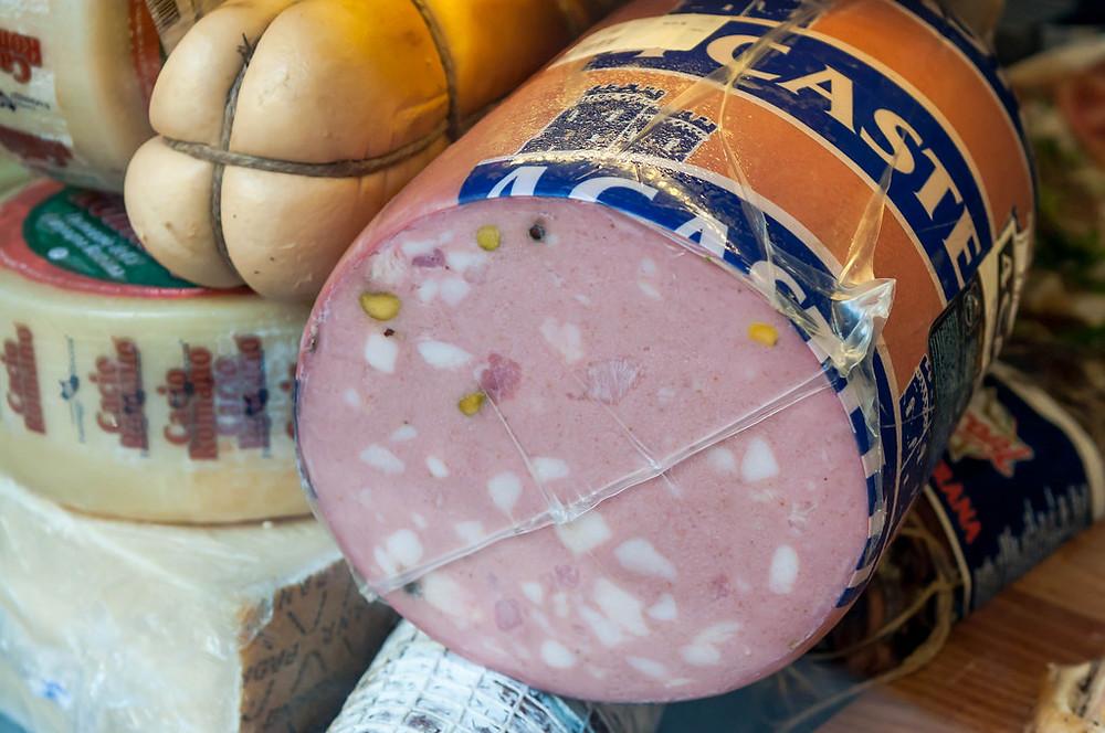 Italian mortadella di Bologna and cheese