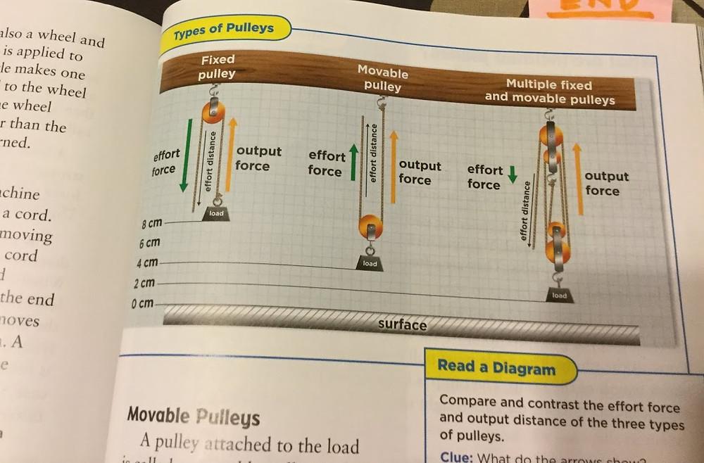 定滑車と動滑車の力の分かれ方を説明した図