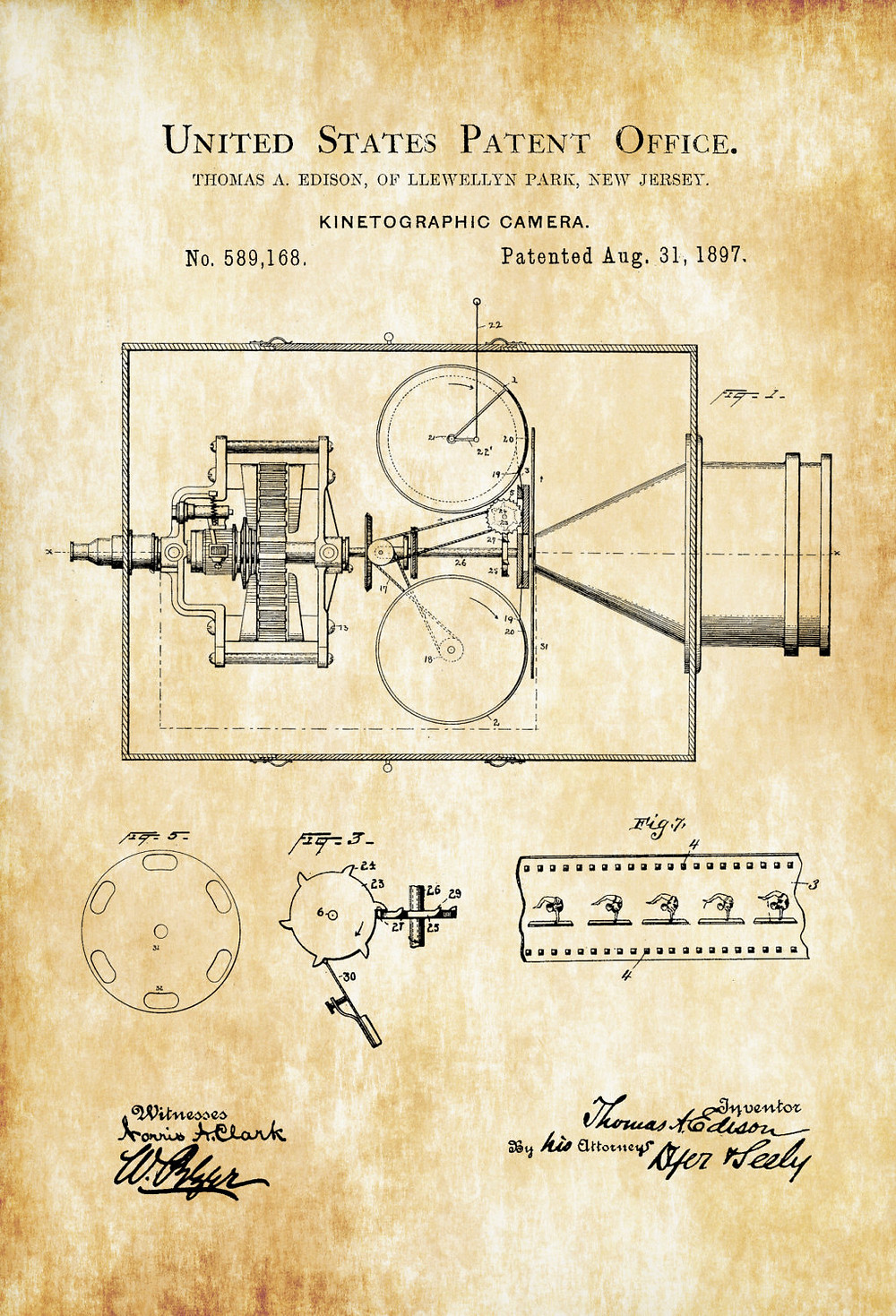 A drawing of Edison's kinetographic camera.