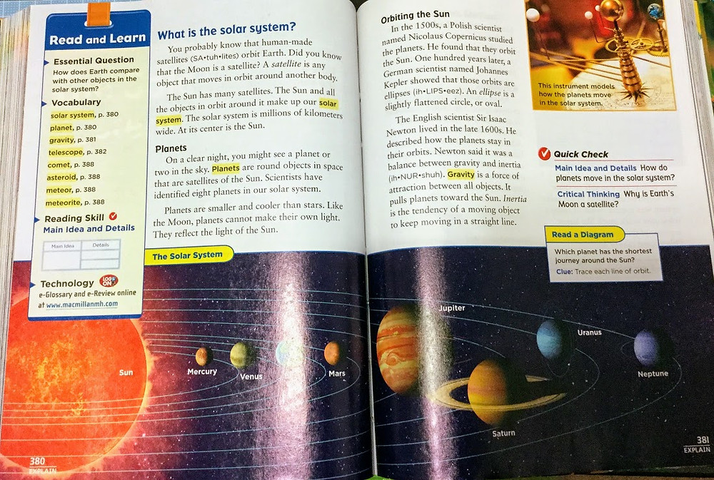 4th grade science textbook (the solar system)