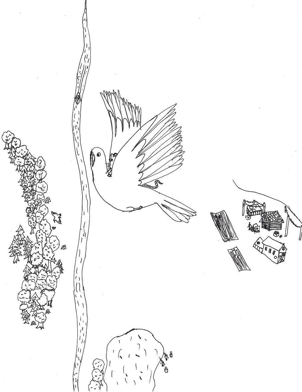 A mouse is flying over a farm on the back of a bird.
