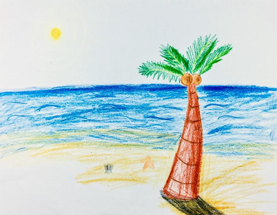 Peaceful beach scenery.