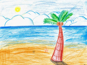 The Sunny Beach in November Drawing Completed!